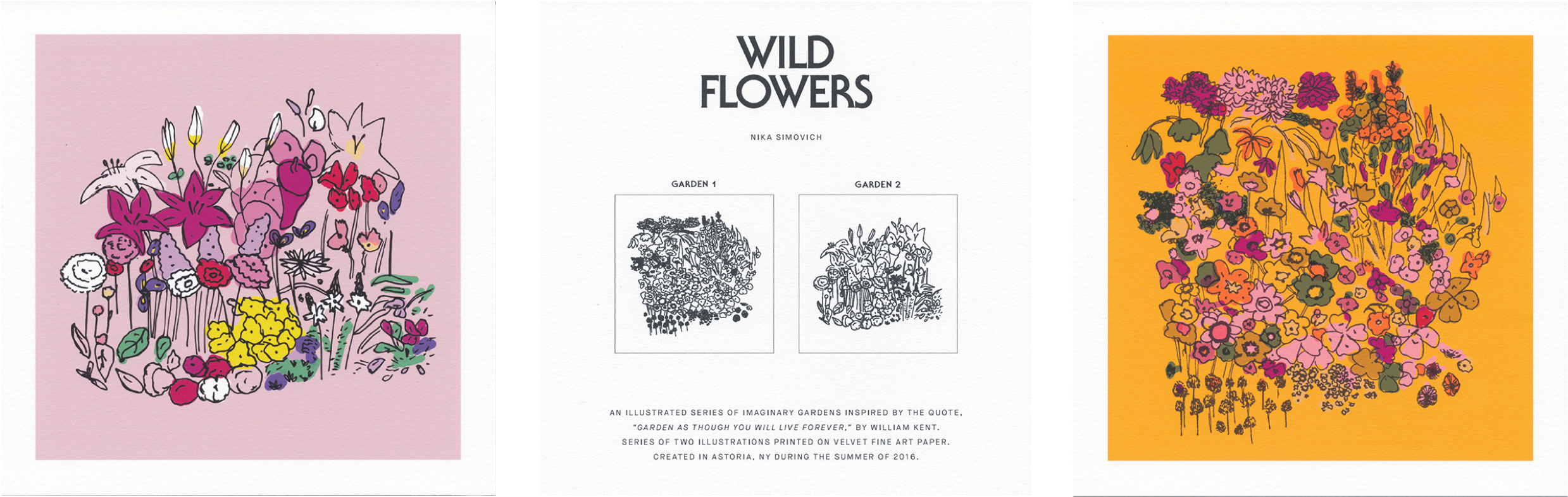 Wildflowers printed set